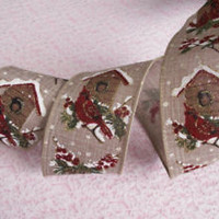 Christmas Ribbon, Cardinals Pinecones & Holly, 2 1/2 In Wide,Wired Edge, 4 YARDS