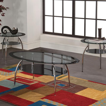 Lunar Chrome & Glass Coffee Table Set