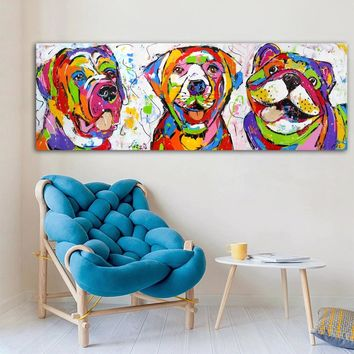Large Size Canvas Art Poster Print Dog Animal Graffiti Colorful Oil Painting Wall Pictures For Kid Room Nordic Decoration Home