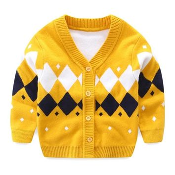 Plaid Baby Boys Sweaters Long Sleeve Newborn Sweaters Knitted Cotton Baby Cardigan Sweater 2018 Autumn Winter Baby Boys Clothing