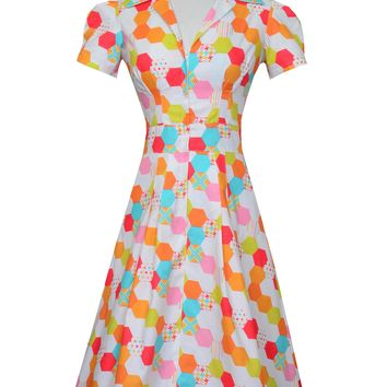 Derby Dress in Technicolor Honeycomb