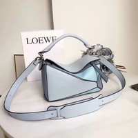 LOEWE solid color puzzle geometric shoulder  bag