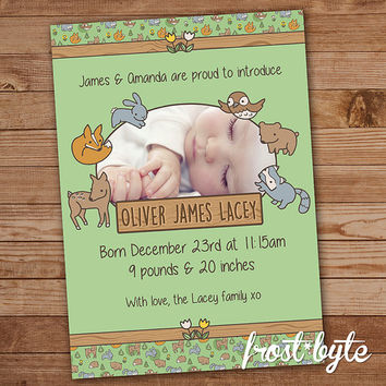 Woodland Themed Birth Announcement - personalized print at home digital file - customised for your baby - deer bunny owl raccoon bear fox