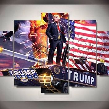 5 Pieces/set Hot Sel Modern HD Printed Donald Trump America painting wall art children's room decor poster canvas painting