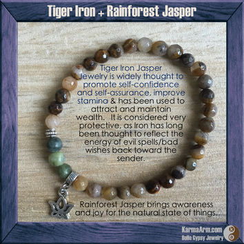 CALM: Tiger Iron + Rainforest Jasper Yoga Mala Bead Bracelet