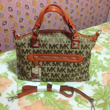 MICHEAL KORS CALISTA Large Satchel MK Signature Tangerine Leather Jacquard Bag