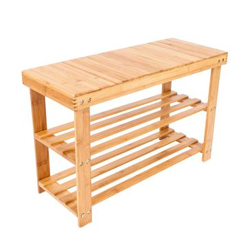 70*28*45.5cm Portable Flat Bamboo Splint Shoes Stool with Storage Wood Color