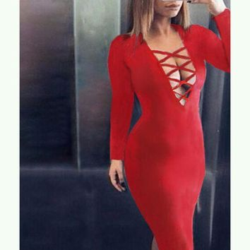 PEAPON hollow out  tight dress-3