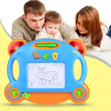 Children Kids Magnetic Writing Drawing Board Musical With Light