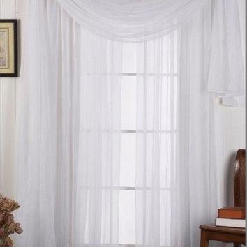 White 54x216 Scarf Solid Sheer Window Treatment