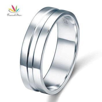 Peacock Star High Polished Men's Solid Sterling 925 Silver Wedding Band Ring Jewelry CFR8058