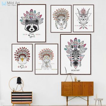 Modern Indian Animals Head Deer Horse Zebra Poster Print Nordic Living Room Wall Art Picture Home Decor Canvas Painting Custom
