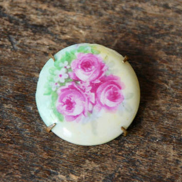 Antique Victorian Porcelain Brooch Pink Rose Bouquet Yellow Green Floral Brass Back Late 1890's Early 1900's // Vintage Costume Jewelry