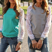 Sweatshirt Lace Long Sleeve T-Shirt