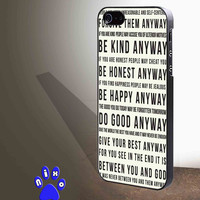 Mother Teresa Anyway Quote for iphone 4/4s/5/5s/5c/6/6+, Samsung S3/S4/S5/S6, iPad 2/3/4/Air/Mini, iPod 4/5, Samsung Note 3/4 Case **