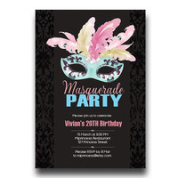 MASQUERADE Party Invitation  Birthday Invitation for any age 20 30 40 50 60 gathering Party invitation Card Design - card 49