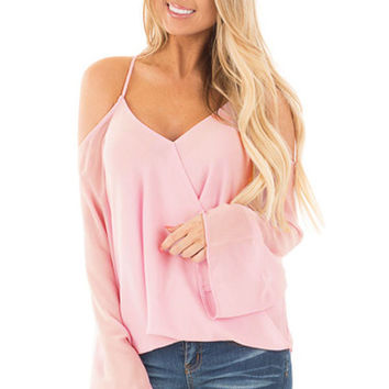 Lilac Cold Shoulder Overlap V Neck Long Sleeve Top