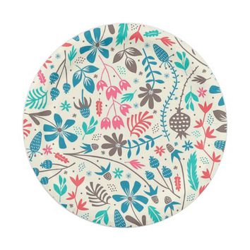 Retro Floral Pattern Paper Plate