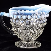 ANCHOR HOCKING Creamer, Hobnail, Opalescent, Moonstone, White, Depression Glass, Dining SALE