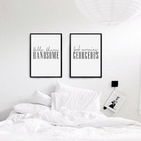 Bedroom Wall Art, Handsome and Georgeous, Bedroom Poster, Printable Wall Art, Bedroom Wall Decor, Printable Sets, Instant Download