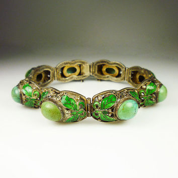 Art Deco Bracelet Chinese Export Turquoise Stone Silver Vermeil Filigree Enamel Butterfly Antique Jewelry