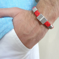 Men's Red Leather Bracelet, Men's Jewelry,  Silver Magnet Clasp Bracelet Men's Cuff Bracelet, Valentine's Gifts