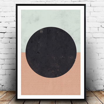 Geometric print, Watercolor abstract, Geometric wall print, Nordic design, Minimalist modern, home decor, Watercolor print, circle poster,