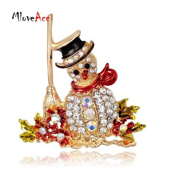MloveAcc Gorgeous Christmas Brooch Crystal Rhinestone Christmas Gifts Snowman Brooches Pins Cute Xmas Gift for the New Year