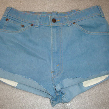 vintage Levi cut off jean blue denim 33 inch high waisted summer shorts orange tag