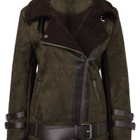 Fur Collar Jacket with Belt Design
