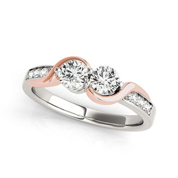 14K White And Rose Gold Round Two Diamond Curved Band Ring (5/8 ct. tw.)