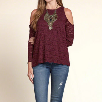 Lace Open Shoulder Top
