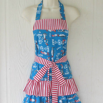 Cat in the Hat Apron / Dr Suess / Ruffled Full Apron / Cute / Stripes / Ruffles / Eclectasie