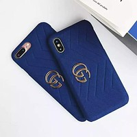 GUCCI 2019 early spring new suede iPhonex mobile phone case cover Blue