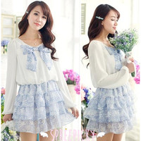 Sweet Round Collar Knotbow Floral Chiffon Long Sleeve Dress Free Shippng SP140667 from SpreePicky