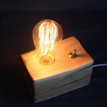 Handmade wooden lamp, Edison lamp, bedside lamp, wood lamp, wooden desk lamp, handmade lamp, natural lamp