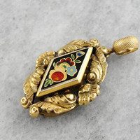 Antique Enamel Pendant, Colorful Enamel Pendant, Decorative Floral Pendant HRCMFA-R