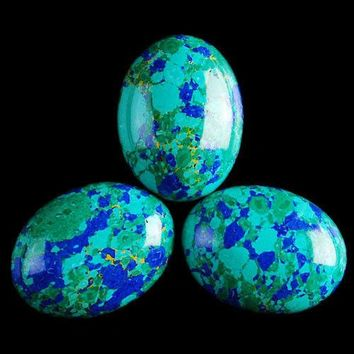 Lapis Lazuli with Chrysocolla Oval Cabochons (5 PCS - 20mm-15mm-5mm - Synthetic)