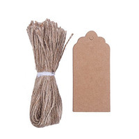 DECORA 100pcs Retro Gift Kraft Tags Plain Blank Scallop Bonbonniere Favor Tags With Jute Twines