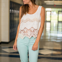 A Lace To Call Home Tank, Ivory
