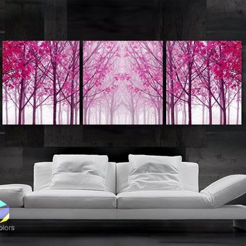 "LARGE 20""x 60"" 3 panels Art Canvas Print Trees Maple Pink Wall"