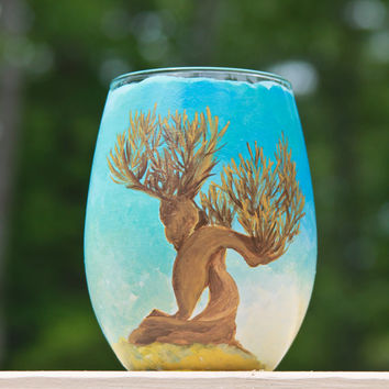 Harry Potter Wine Glass: Womping Willow and Dreams Quote by Dumbledore