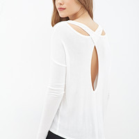 LOVE 21 Cutout Back Knit Top Ivory