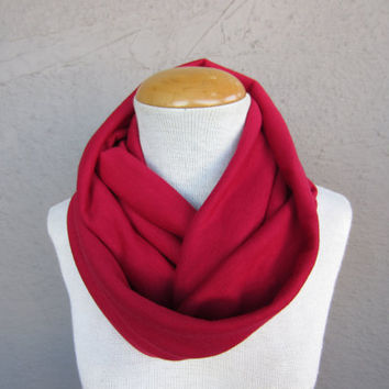 Red Infinity Scarf - Sweater Knit Scarf - Bright Red Circle Scarf