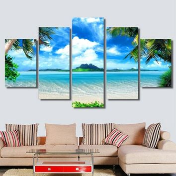 5 Piece Wall Art Canvas Beach Scenery Wall Art Picture Canvas Oil Painting Home Decor Wall Pictures for Living Room