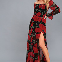 Final Rose Black Floral Print Off-the-Shoulder Maxi Dress
