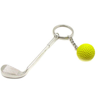 Golf Keychain, Golf Key Ring, Sports Keychain, Golf Gift, Golf Club Keychain, Golf Club And Ball Keychain, Sports Gift, Golfing Keychain
