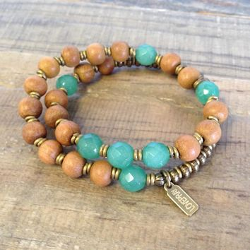 "Sandalwood and Aventurine ""Fourth Chakra"" 27 Beads Wrap Mala Bracelet"
