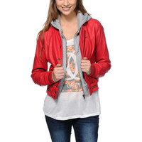 Obey Varsity Lover Red Hooded Faux Leather Jacket at Zumiez : PDP