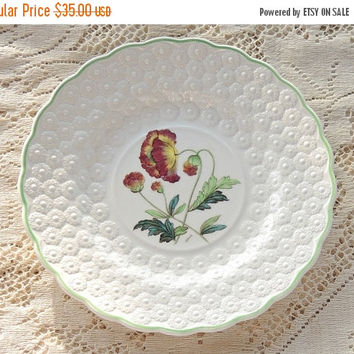 On Sale Vintage Spode Botanical  Plate, Flowers of the Month #11, Poppy Collectible Plate, Signed Numbered 9366, Cabinet Plate Ca. 1932